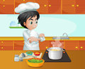 A male chef cooking at the kitchen illustration of Royalty Free Stock Photo