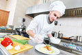 Male chef decorating food plate Royalty Free Stock Photo