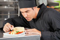 Male chef garnishing dish in commercial kitchen Royalty Free Stock Photo