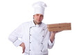Male chef holding a pizza box Royalty Free Stock Photography