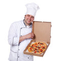 Male chef holding a pizza box open Stock Photography