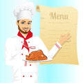 Male chef holding a tray with christmas roasted turkey portrait of cheerful hipster and showing ok sign against blank retro scroll Stock Photos