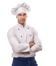 A male chef isolated over white background Royalty Free Stock Images