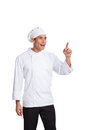 Male chef making hand gesturing isolated on white Stock Photo