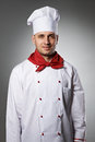 Male chef portrait against grey background Royalty Free Stock Photos