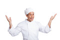 Male chef smiling isolated on white and making hand gesturing Royalty Free Stock Photo