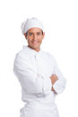 Male chef smiling and looking at the camera isolated on white Royalty Free Stock Photo