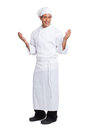 Male chef smiling and making hand gesturing i isolated on white Royalty Free Stock Image