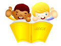 Male children are holding a big book education and life charact character design series Stock Images