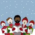 Male christmas carol singers in the snow Royalty Free Stock Photo
