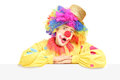 Male circus clown making a grimace on a blank panel isolated white background Royalty Free Stock Images