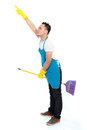 Male cleaning service fun Stock Photography
