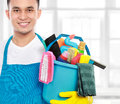 Male cleaning service ready to work Stock Photography