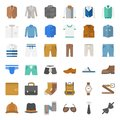 Male clothes and accessories flat icon set 1