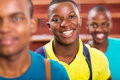 Male college student portrait of cute african with friends Royalty Free Stock Image
