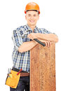 Male construction worker posing isolated on white background Royalty Free Stock Photography