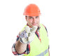Male constructor making watching you hand gesture Royalty Free Stock Photo