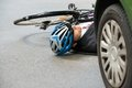 Male cyclist after road accident Royalty Free Stock Photo