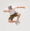 Male dancer jumping in the air picture of Royalty Free Stock Photography