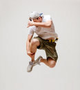 Male dancer jumping in the air picture of Royalty Free Stock Images