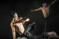 Male dancers in the rain performance of st petersburg theater dance temptation Stock Photos