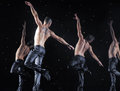 Male dancers in the rain performance of st petersburg theater dance temptation Royalty Free Stock Images