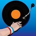 Male DJ hand spinning vinyl vector illustration Stock Photos