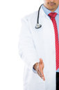 Male doctor giving his hand for a handshake Royalty Free Stock Photo