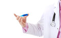 Male doctor holding a thermometer. Royalty Free Stock Photo