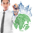 Male drawing city development concept Royalty Free Stock Photo