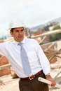 Male engineer at a construction site Royalty Free Stock Image