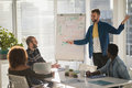 Male executive explaining business plans to his coworkers on flip chart Royalty Free Stock Photo