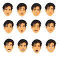 Male face expressions cartoon illustration of different isolated on a white background Stock Photos