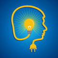Male face with light bulb illustration of Stock Photo