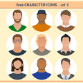Male faces avatars, character icons for your site