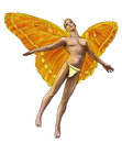 Male fairy from fantasy world he has bright orange and yellow butterfly like wings and red hair isolated on white background Royalty Free Stock Images