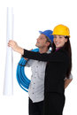 Male and female builders Royalty Free Stock Photo