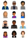 Multicultural society concept, man and woman characters. Flat icons set. Vector illustration