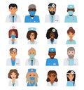 Male and female doctors team avatars.