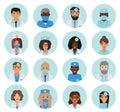 Male and female doctors team avatars.