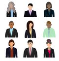 Business people flat avatars on white background. Vector illustration