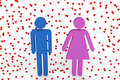 Male and female figures surrounded by hearts Royalty Free Stock Images