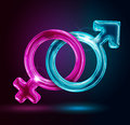 Male and female gender symbols on black background Royalty Free Stock Photos