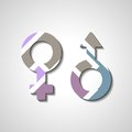 Male and female gender symbols style illustration Royalty Free Stock Image