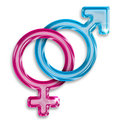 Male female gender symbols white background Royalty Free Stock Images