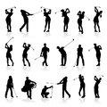 Male and Female Golf Silhouettes Set Royalty Free Stock Photo