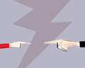 Male and female hands with pointing finger directed at each other. Vector illustration. Concept of arguing, accusation, business r