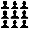 Male and female head silhouettes avatar, profile vector icons, people portraits Royalty Free Stock Photo