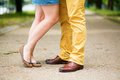 Male and female legs during a date romantic Royalty Free Stock Images