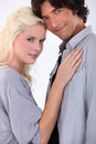 Male and female models stood together Royalty Free Stock Image